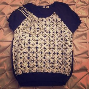 Moth black and white lace sweater size M